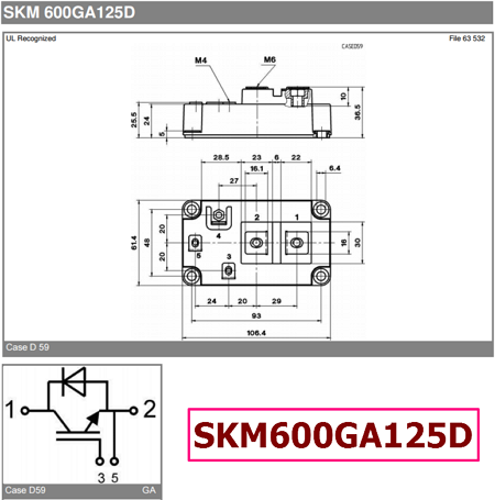 SKM 600GA125D datasheet pinout